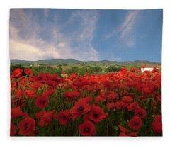 Tuscan Poppy Field Fleece Blanket