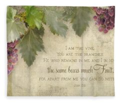 Tuscan Vineyard - Rustic Wood Fence Scripture Fleece Blanket