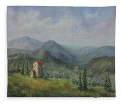 Tuscany Italy Olive Groves Fleece Blanket