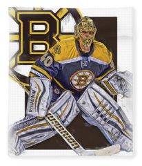 Tuukka Rask Boston Bruins Oil Art 1 Fleece Blanket
