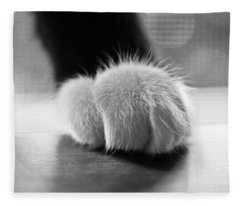 Tuxedo Cat Paw Black And White Fleece Blanket