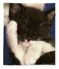 Tuxedo Kitten Snoozing Fleece Blanket