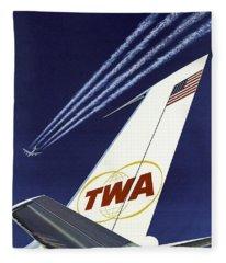 Twa Star Stream Jet - Minimalist Vintage Advertising Poster Fleece Blanket