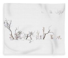 Twigs In Snow Fleece Blanket