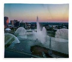 Twilight At The Fountains Fleece Blanket