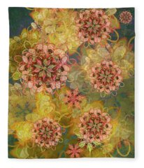 Twilight Blossom Bouquet Fleece Blanket