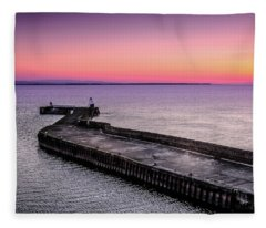 Twilight, Burghead Harbour Fleece Blanket