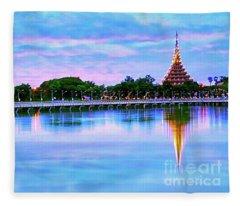 Twilight City Lake View Fleece Blanket