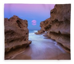 Twilight Moon Rising Over Hutchinson Island Beach Rocks Fleece Blanket