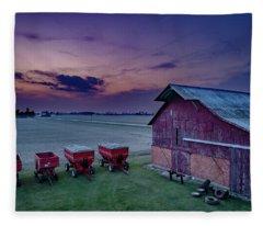 Twilight On The Farm Fleece Blanket