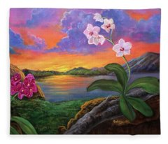 Twilight Orchids Fleece Blanket