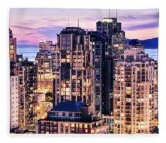Twilight Over English Bay Vancouver Fleece Blanket