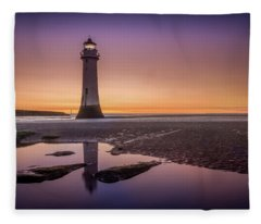 Twilight Reflection, New Brighton Lighthouse Fleece Blanket