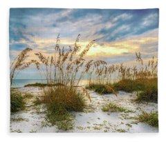 Twilight Sea Oats Fleece Blanket