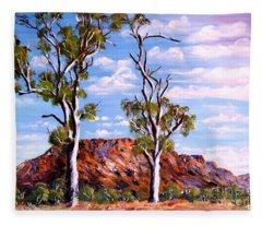 Twin Ghost Gums Of Central Australia Fleece Blanket
