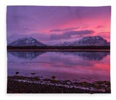 Fleece Blanket featuring the photograph Twin Mountain Sunrise by Pradeep Raja Prints