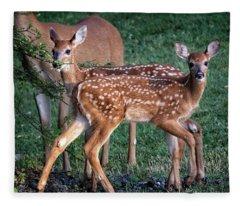 Twin Whitetail Fawns Fleece Blanket