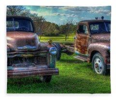 Almost Twins 1952 Chevrolet 1952 Gmc Flatbed Truck Art Fleece Blanket