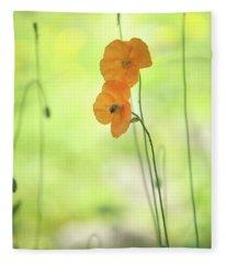 Twins. Orange Poppies Fleece Blanket