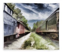 Twixt The Trains Fleece Blanket