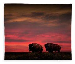 Two American Buffalo Bison At Sunset Fleece Blanket