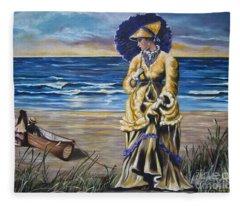 Historical 1800 Oil -  Lady In Yellow  Fleece Blanket
