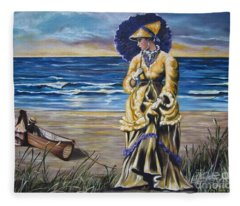 Historical 1800 Oil -  Lady In Yellow  Fleece Blanket