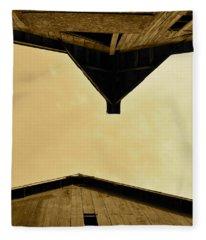 Two Barns In Sepia Fleece Blanket