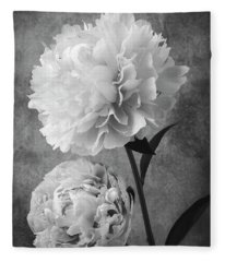 Two Beautiful Black And White Peonies Fleece Blanket