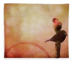 Two Birds In The Mist Fleece Blanket