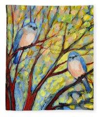 Two Bluebirds Fleece Blanket