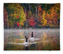 Two Canadian Geese Swimming In Autumn Fleece Blanket