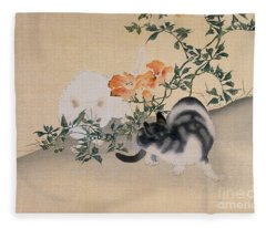 Two Cats Fleece Blanket