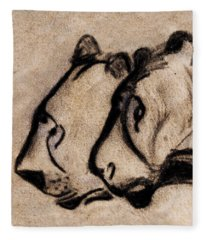 Two Chauvet Cave Lions - Clear Version Fleece Blanket