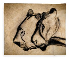 Two Chauvet Cave Lions Fleece Blanket
