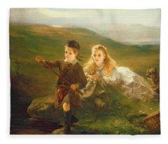 Two Children Fishing In Scotland   Fleece Blanket