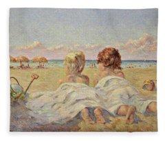Two Children On The Beach Fleece Blanket
