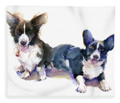 Two Corgis Fleece Blanket