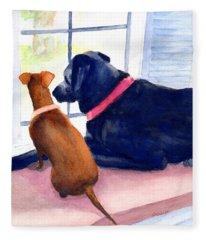 Two Dogs Looking Out A Window Fleece Blanket