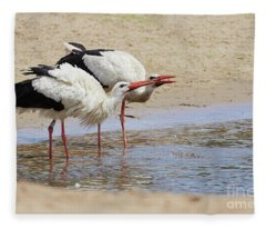Two Drinking White Storks Fleece Blanket