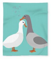 Two Ducks In Love Fleece Blanket