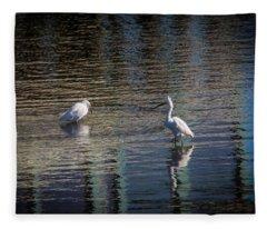 Two Egret's Fishing Fleece Blanket