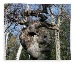 Two Elephants In A Tree Fleece Blanket