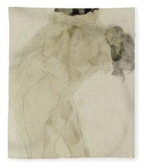 Two Embracing Figures Fleece Blanket