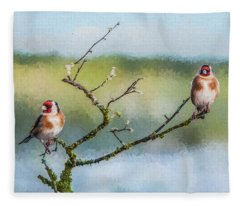 Two European Goldfinches Carduelis Carduelis Fleece Blanket