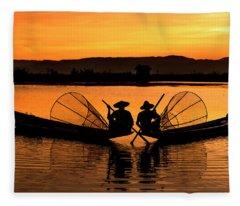 Two Fisherman At Sunset Fleece Blanket