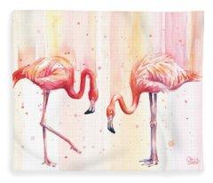 Two Flamingos Watercolor Fleece Blanket