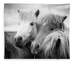 Two Icelandic Horses Black And White Fleece Blanket