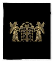 Two Instances Of Gold God Ninurta With Tree Of Life Over Black Canvas Fleece Blanket