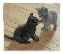 Two Kittens Fleece Blanket